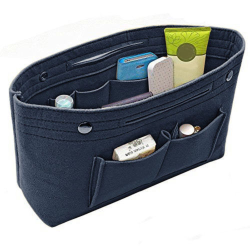 Women Portable Felt Fabric Purse Handbag Organizer Bag Multi Pocket Insert
