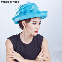 Elegant Lady Masha Hat Natural Upscale Bridal Hat Four Seasons Women Cap Mingli Tengda Bibi Mariage Wedding Hat Bride Hats Blue