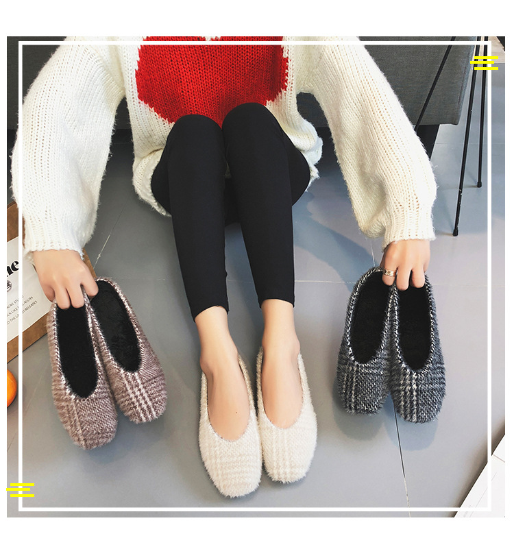 Pumps Square Low-Heel Single-Shoes Slip-On Women Fashion Flock Casual Basic Shallow