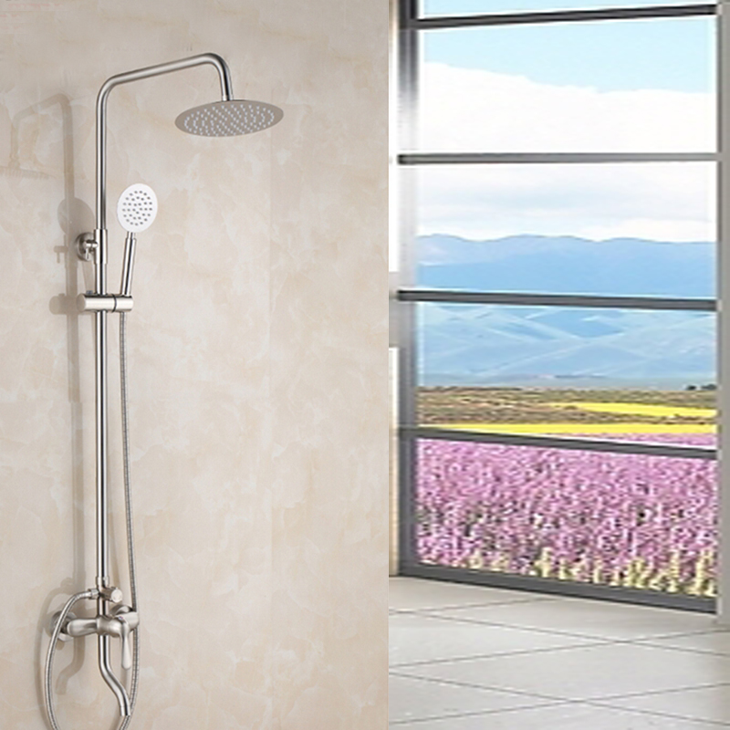 Luxury Nickel Brushed Bathroom Rain Shower Faucet Tub Spout Mixer Tap Hand Unit nickel brushed bathroom sink faucet swivel spout tub faucet double handle mixer tap with hand shower
