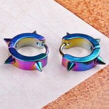Gothic Men Fashion Huggie Jewelry 316L Stainless Steel Ear Hoop Earrings Special Design Rivet 1 Pair 5 Colors