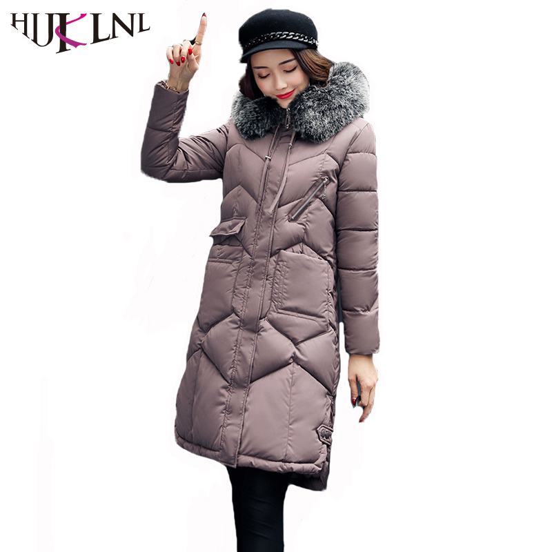 HIJKLNL Women Winter Coat Jacket Warm Female Overcoat High Quality Hooded Fur Collar Long Cotton Coat 2017 New Parka Mujer NA317 women winter coat jacket warm woman parkas big fur collar female overcoat high quality thick cotton coat 2017 new winter parka