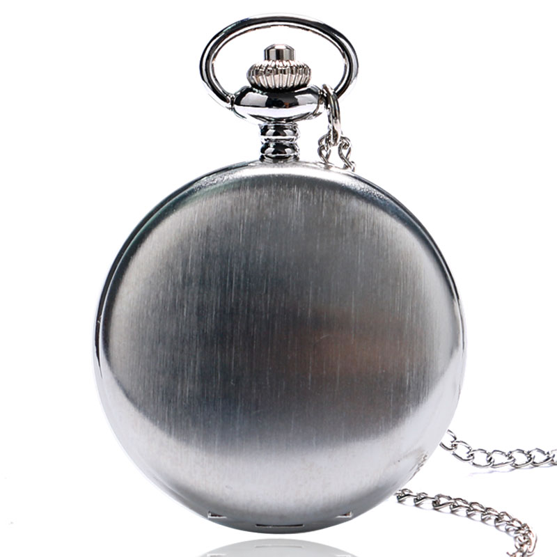 Classic Casual Sliver Polish Smooth Quartz Pocket Watch With Necklace Chain For Men Women Relogio De Bolso Gift