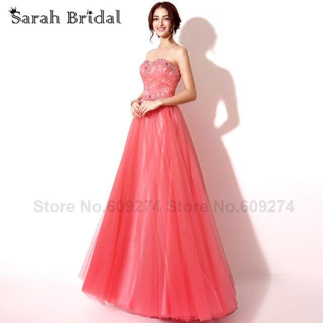 Satin Coral a-linie Langer Abschlussball Kleidet 2015 modische Spitze  handgemachte Kristall Abendkleid partykleider Sexy 00654c0876