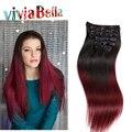 Clipe de Venda quente Em Linha Reta cabelo Virgem Malaio Do Cabelo Grampo Em Extensões de cabelo Clipe de Cabeça Cheia Em Extensões Do Cabelo Humano Remy cabelo