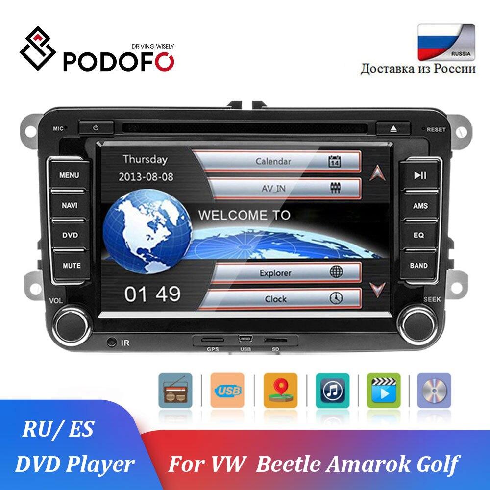 Podofo Автомобильный мультимедийный плеер 2 Din автомобильный DVD автомагнитофон для Volkswagen VW MattwayT6 Beetle Scirocco Sharan Kaluwei Kadi Amarok Golf