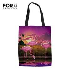 FORUDESIGNS Women Linen Bags Art Sunset Flamingo Prints Pattern Fashion Shopping Bag Girls Handbag Ladys Cool Animal Canvas Bags