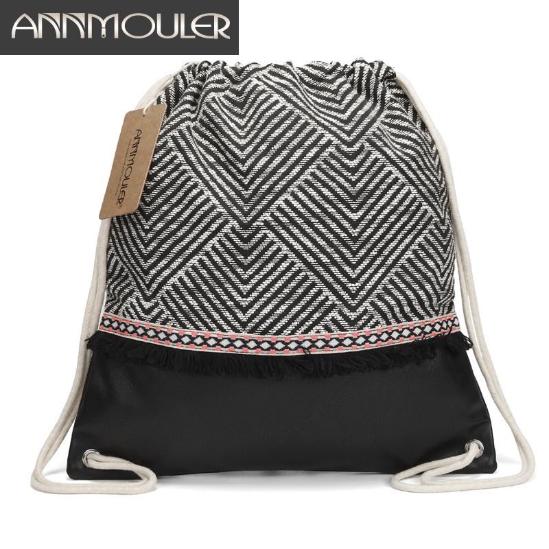 Annmouler Women Fabric Backpack  Gypsy Bohemian Drawstring Bags Tassel Boho Bag High Quality Vintage Patchwork Tribal Bag