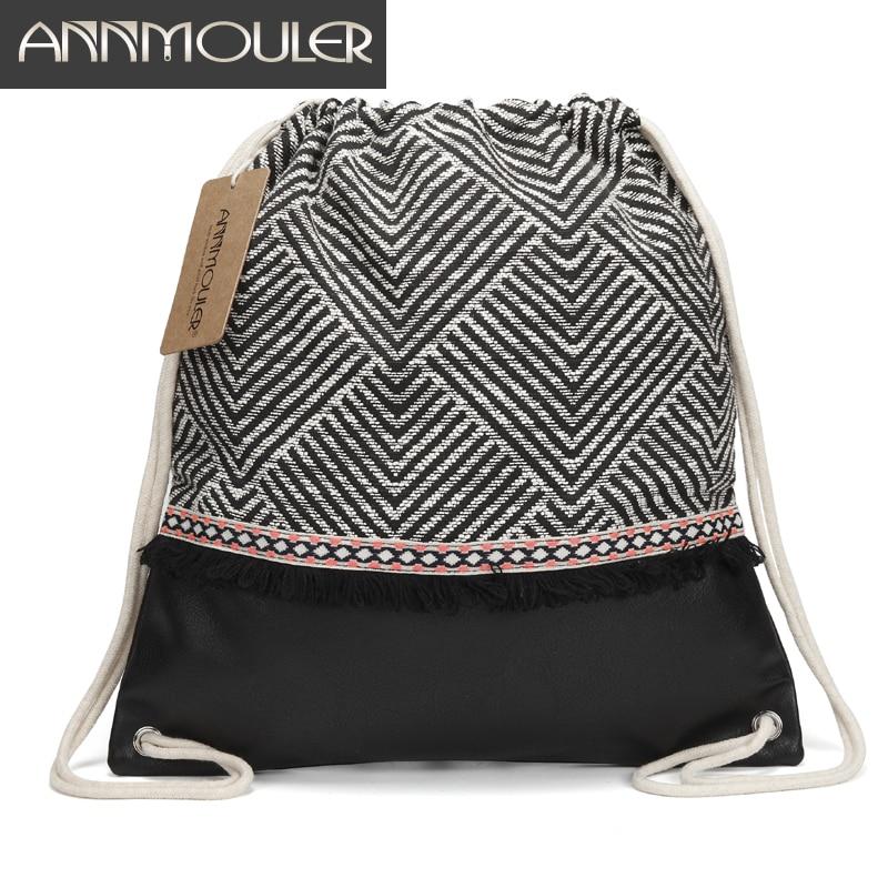 Annmouler Women Fabric Backpack  Gypsy Bohemian Drawstring Bags Tassel Boho Bag High Quality Vintage Patchwork Tribal Bag