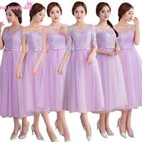 2018 ostatnie koronki elegancki formalna modest formalne proste bridsmaid girl dress lilac krótki druhna suknie niecałe 100 dolarów H3892