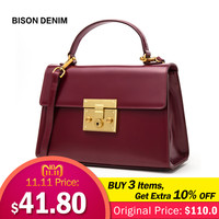 BISON DENIM Genuine Leather Women Bag Vintage Fashion women's handbags Luxury Handbags for women 2018 bolsa feminina N1400