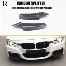 цена на F30 Carbon Fiber Front Bumper Lip Side Splitter Apron for BMW F30 320i 328i 330i 335i 320d 325d 330d 335d M-tech M-sport Bumper