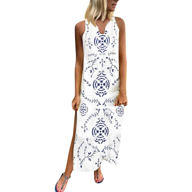 Summer Dress Women'S Printed Sleeveless Dress Split Hem Baggy Kaftan Dress Party Dress Robe Femme