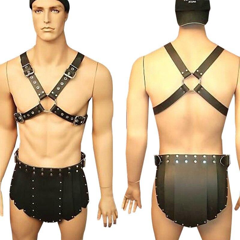 MSemis Men Bondage Harness Set Men PU Leather Adjustable Body Chest Harness Bondage With Shorts Restraint Gay Male Bondage