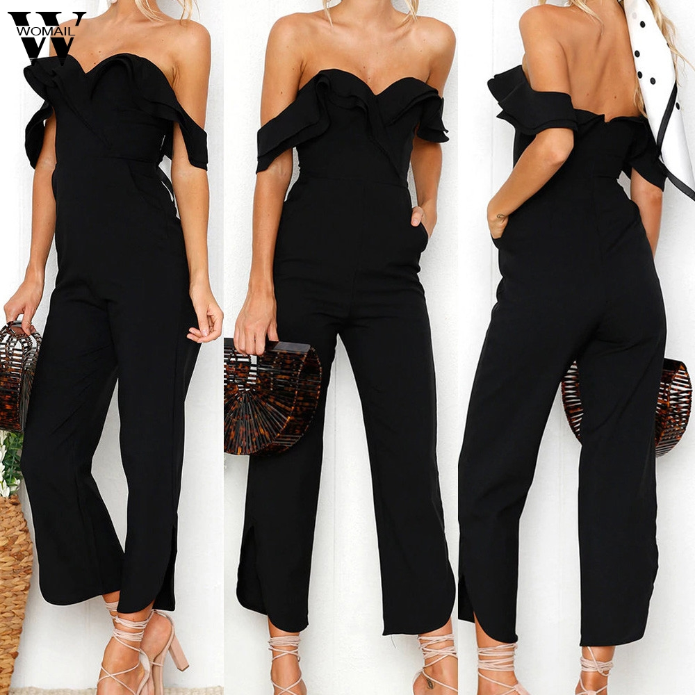 Womail Bodysuit Women Summer Fashion Holiday Off Shoulder Short Sleeve Summer Beach Jumpsuit Overalls  Dropship M5