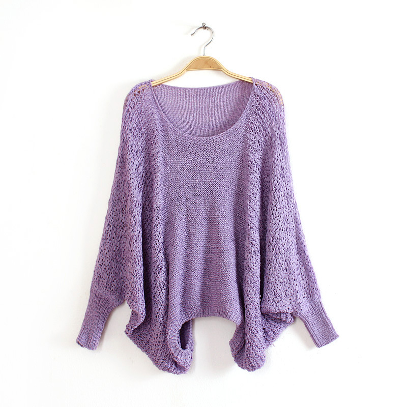 Knit O-Neck Long Sleeve Pullover Loose Sweater 1