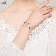 Badu 3mm Crystal Beaded Bracelet Adjustable Size Lovely Bracelets for Women Girls Bohemian Holiday Jewelry Gift
