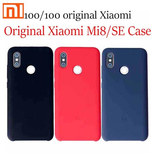 Original xiaomi mi8 se Silikon Mi 8 fall Se mi 8 se neue natur flüssigkeit Silikon telefon schutz anti Fallen pc + faser mi8/se