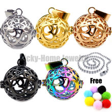 Round Steel OM Essential Oils Diffuser Locket Aromatherapy Locket Free Pads 316L Cage Locket Perfume Locket drop shipping(China)