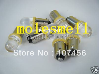 Free shipping 50pcs T10 T11 BA9S T4W 1895 6V yellow Led Bulb Light for Lionel flyer Marx