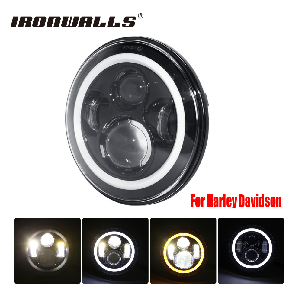 7 Motorcycle Car H4 H13 LED Headlight 36W Halo Lamp Projector Angel Eye for Harley Road King Softail Glide Electra Touring Jeep барьер road angel 19cm