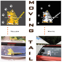 Free Shipping 2015 NEW Hot Sales Cartoon Funny Cat Moving Tail Stickers Reflective Car Window Wiper