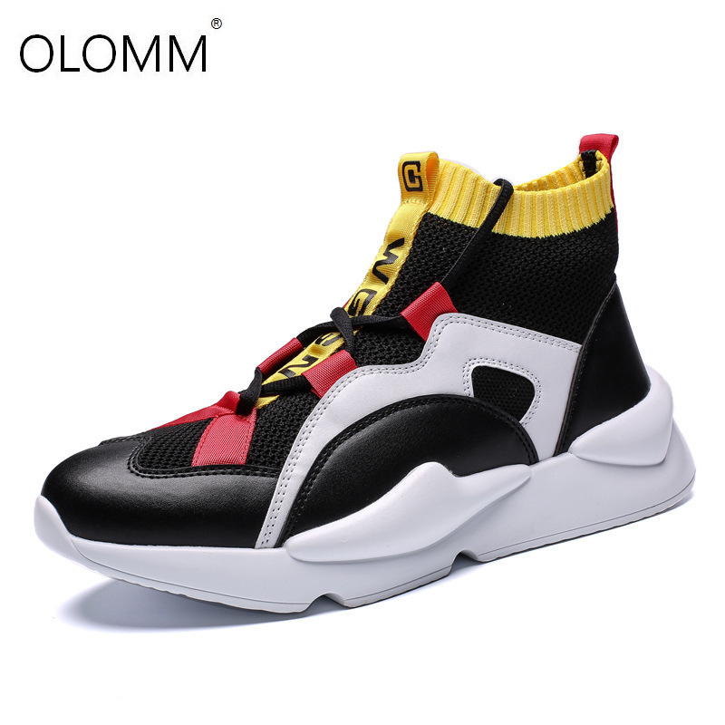 Brand Men's Personality Casual Shoes Comfortable Leather Color Matching Mesh Shoes Sneakers Hip-hop Loafers Zapatos De Hombre