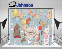 wall backdrop High quality Computer print Cute Animals Balloons Fox Elephant Deer Flag Blue Cake Table background