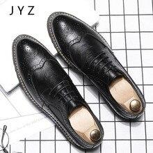 2018 Vintage Fashion Mens Dress Shoes Lace Up Oxfords Brogue Man Black Brown Size 45 46 44 men0008