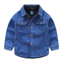 Retail next 2016 autumn boy baby's shirts with velvet handsome warming thick children's jeans shirts Fishbone embroidered