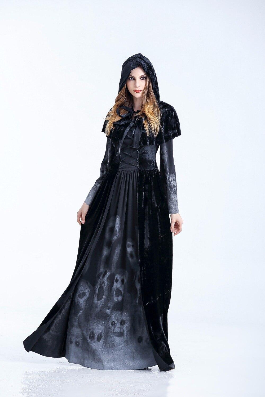 Black Corpse Bride Vampire Witch Dress Halloween Costumes ...