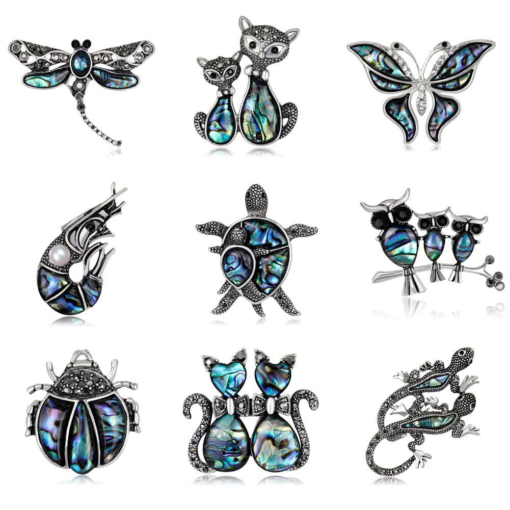 Natural Shell Cat Turtle Brooches For Women And Men Alloy Couple Animal Brooch Pins For Suits Sweater Dress Hat Scarf Pins