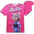 Nova zootopia ZOOTOPIA Miúdos Dos Desenhos Animados T-Shirt Roupas Para Crianças Camisetas Meninas de Manga Curta de Algodão t-shirts para Crianças Meninas meninos
