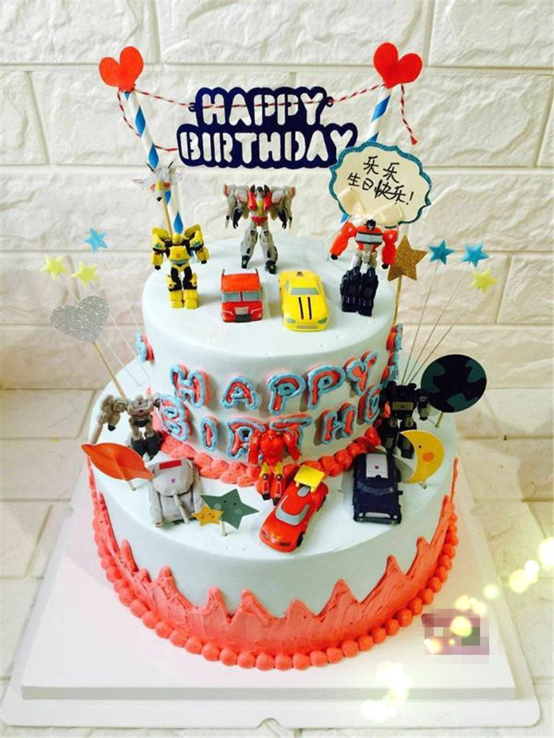 cars party robot toy cake topper boys birthday decoration car toys for boys kids children party model toy car cupcake toppers image