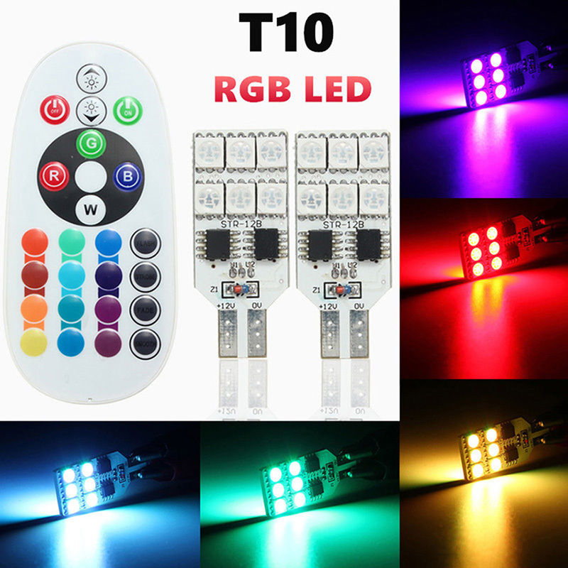 T10 W5W 5050 12SMD RGB LED Multi Color Light Car Wedge Side Bulbs width lamp Strobe lights Reading Lamp Remote Control 12V 2x t10 w5w 168 194 smd 6 led 5050 remote control rgb car reading wedge lights for car tail light side parking door lighting