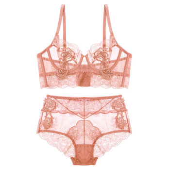 Varsbaby sexy embroidery transparent ultra-thin adjustable flower lace bra set 4