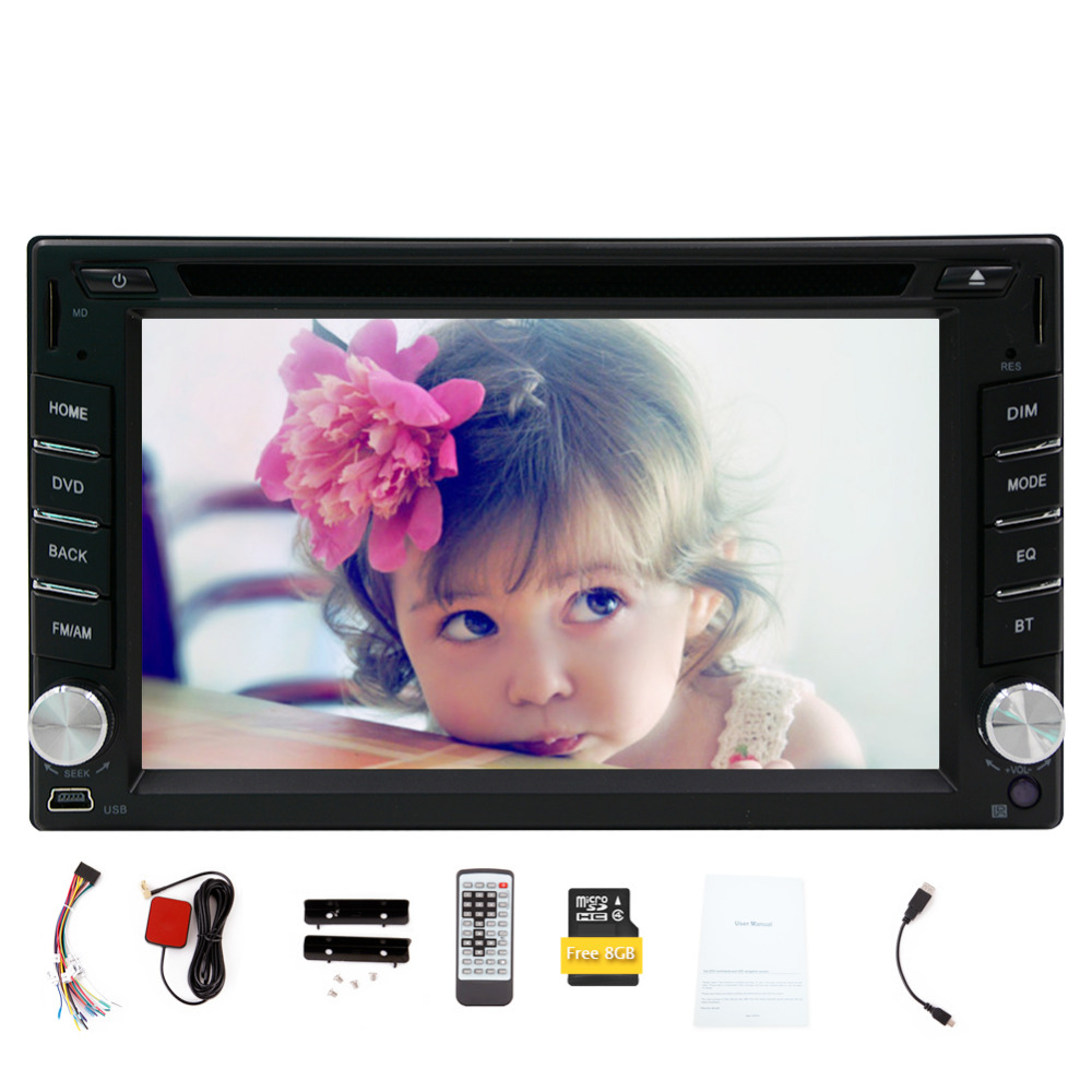 Double 2 DIN car gps player 8GB Map Card Win6 Car GPS Navigation Touchscreen Car Stereo Bluetooth FM/AM MP3/MP4 Car DVD Player 6 2 wince6 0 free 8gb map camera for 2din universal car dvd player radio stereo gps navigation bluetooth stereo fm am rds aux
