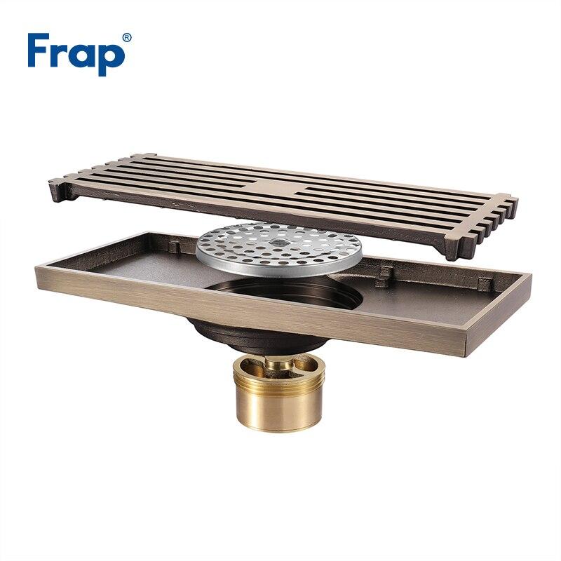 Frap Drain de sol de haute qualité 20*8.2 cm Euro Antique en laiton Drains de sol couverture douche égouttoir accessoires de bain Y38072 - 4