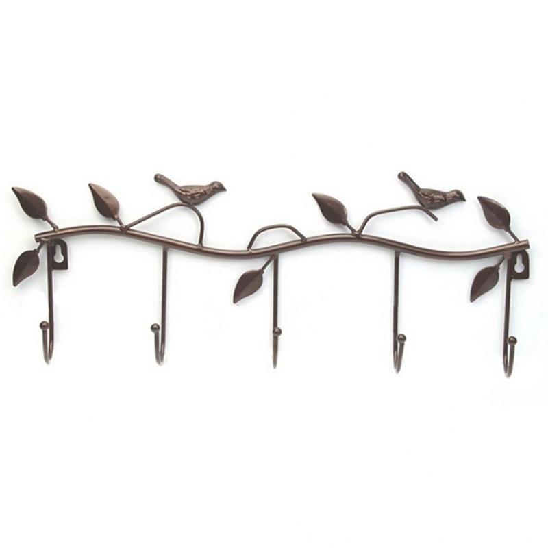 Creative Bird Leaf  Wall Hooks Kitchen Bathroom Organizer Hanger Hooks Metal Iron Hanging Rack With 5-Hooks