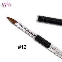 1pc 12 High Quality Pure Animal Kolinsky Hair Rhinestones Metal Handle Nail Art Acrylic Brush Pen