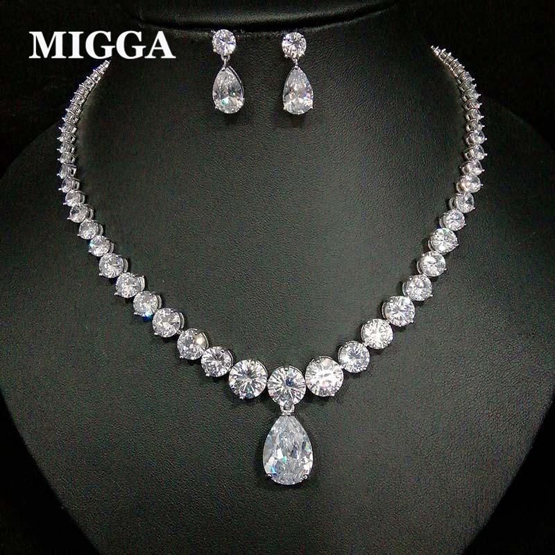 MIGGA Luxury Water Drop Shaped Cubic Zirconia Necklace Dangle Earrings Exquisite Women Bride Wedding Jewelry Set