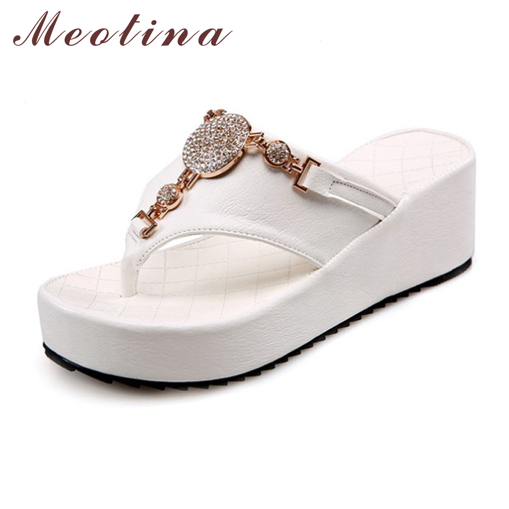 Meotina Bling Ladies Sandals Summer Open Toe Slippers Party Sandals Chunky  High Heels Shoes Women Rhinestone ... 38384fbd728c
