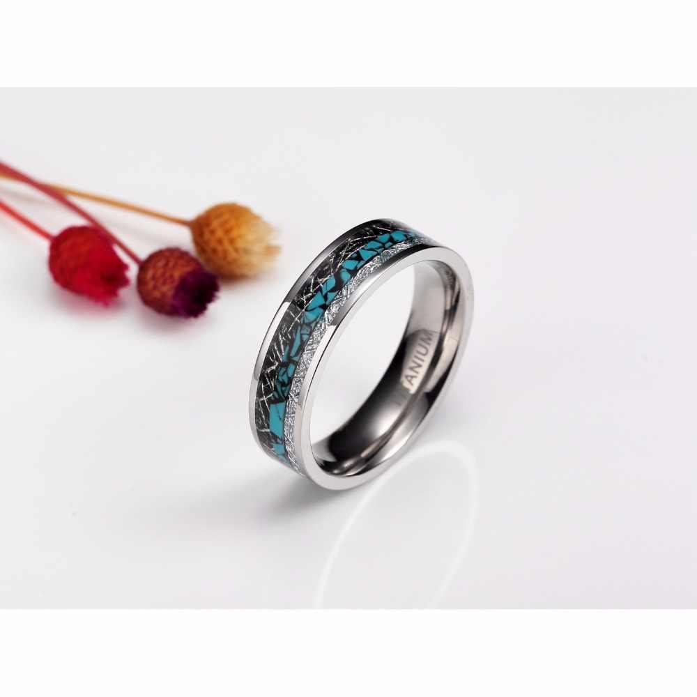 1Pcs 6mm 8mm แหวนผู้ชายสีดำด้ายเงิน Inlay ไทเทเนียมแหวนคู่เครื่องประดับ Comfort Fit