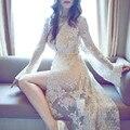 Verão longo roupão de banho de alta qualidade Lace Robe com calcinhas Robes Sexy trajes Maxi Negligee Nightie mulher roupas do sexo feminino