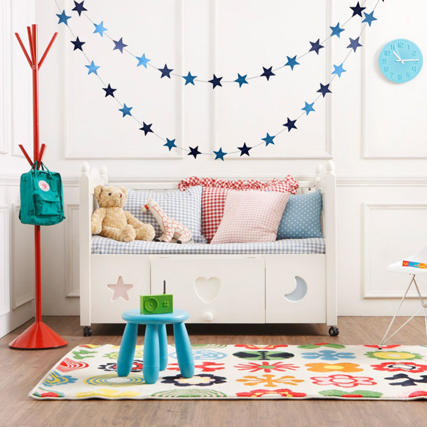 4M Sparkling Star Garland Colorful Stars Hanging Decoration Weddings Parties Children's Rooms Mosquito Nets For Baby Room Decor