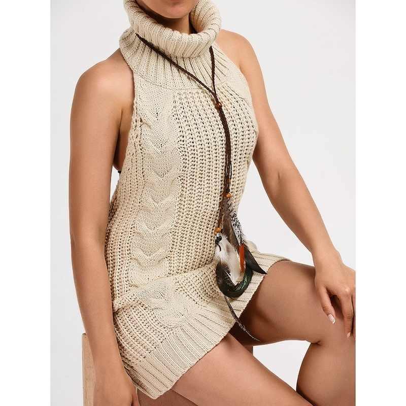 Новый длинный свитер без рукавов с высоким воротником, вязаный сексуальный женский свитер с открытой спиной и пуловеры для женщин