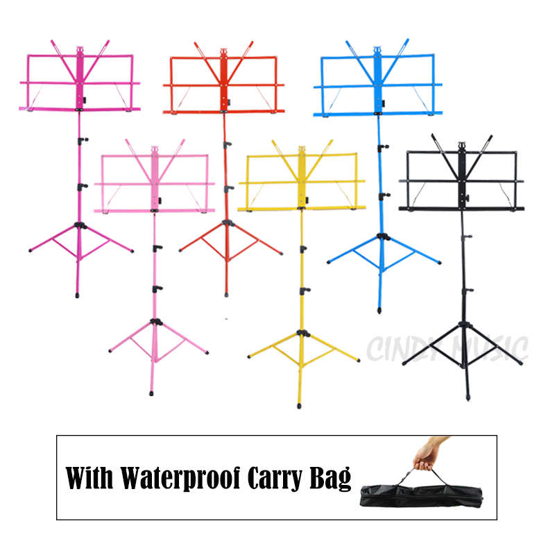 Colourful Sheet Folding Music Stand Metal font b Tripod b font Stand Holder With Soft Case