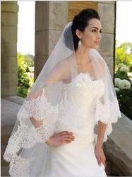 Long Bridal Veil With Lace Highest Quality  Wedding Veil Two Tiered Lace Edge Sequin  Bridal Lace Veil
