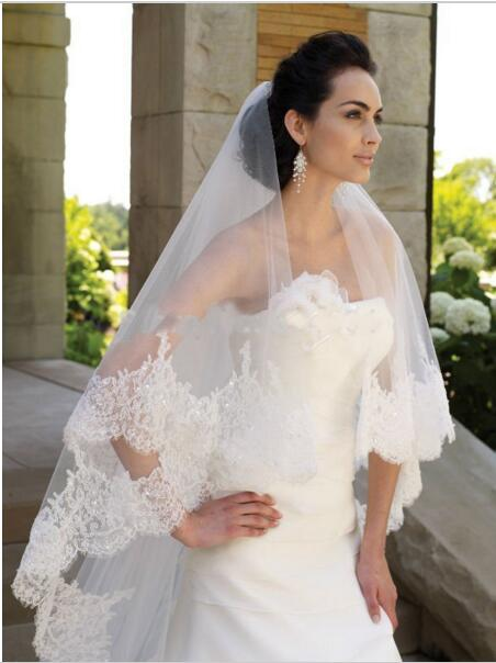 Longo véu de noiva com renda de alta qualidade véu de casamento duas camadas borda do laço de lantejoulas véu de renda nupcial