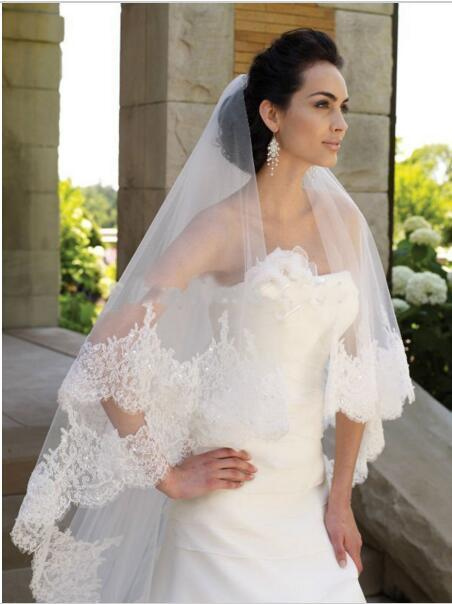 Panjang Kerudung Pengantin dengan Renda Kualitas Tertinggi Pernikahan Kerudung Dua Tingkat Tepi Renda Payet Pengantin Kerudung Renda